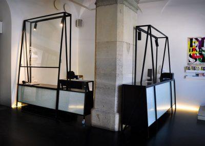 1 Modern custom furniture Steel wood and crushed glass
