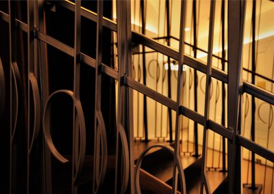 10 Decorated custom high steel balustrade with brass handrail