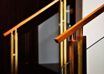 2 Tailor made balustrades Brass and safety glass
