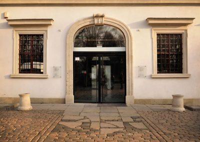 5 Custom glass steel main doors in a historical building