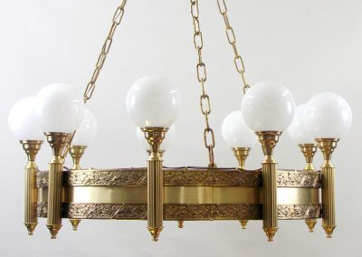 8 Brass shandelier with glass shades