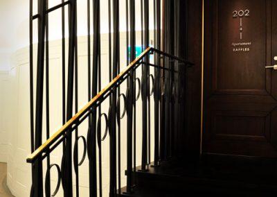 9 Steel balustrade with brass handrail