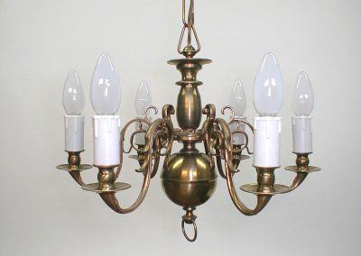 12 Flemish 6 armed classic brass chandelier