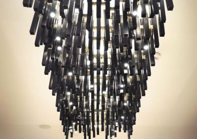 13 Modern tailor-made chandelier made of patinated brass and LED moduls