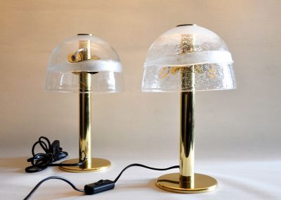 5 Brass desk pamps with artistic glass shades
